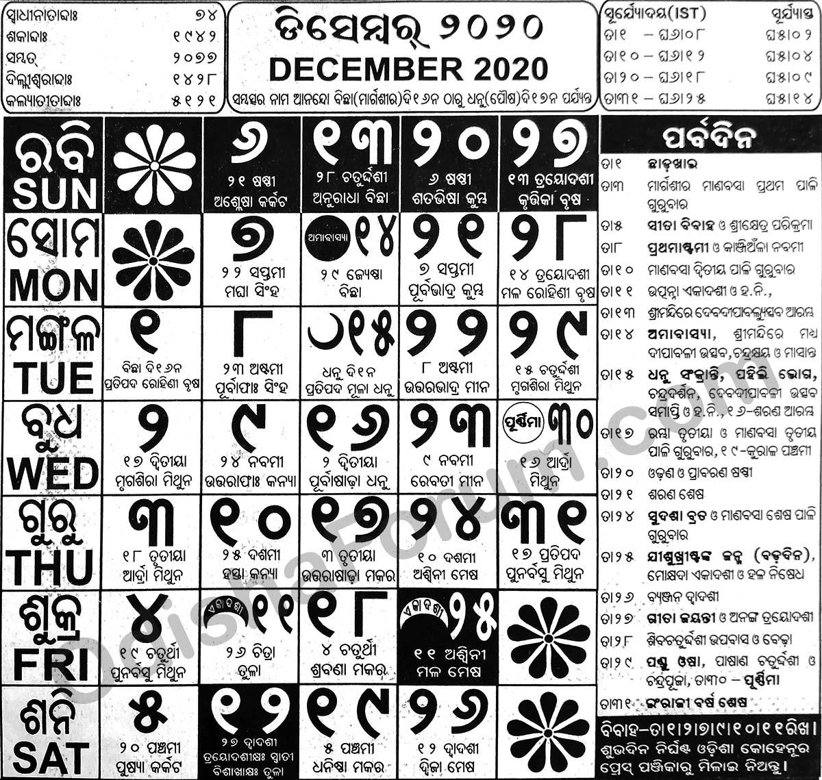 2020 December Oriya Calendar