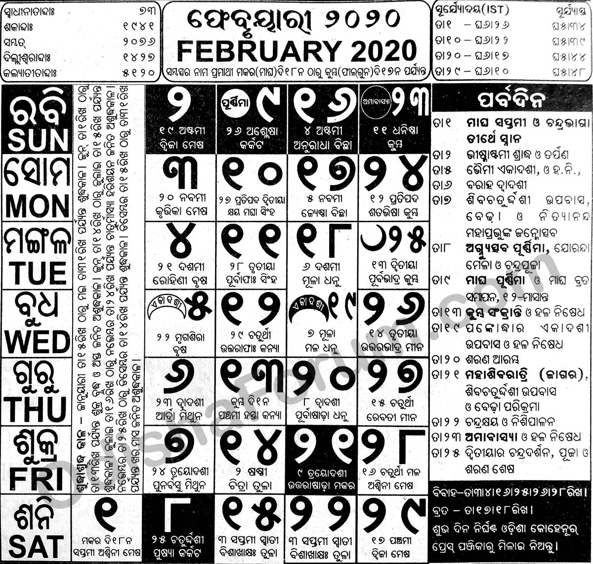 2020 February Oriya Calendar